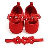Zapatos de Niña con Diadema Regalo Set Bautizo Lovely Algodón Flor Suave Suela Zapatillas Antideslizantes Zapatos de Princesa (0-6 Meses, Rojo, Tamaño de Etiqueta 11)