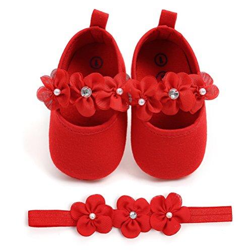 EDOTON Baby Mädchen 2 Pcs Kleinkind Party Schuhe Mit Stirnband, Rot, Gr.- 6-12 Monate/Herstellergröße- 3