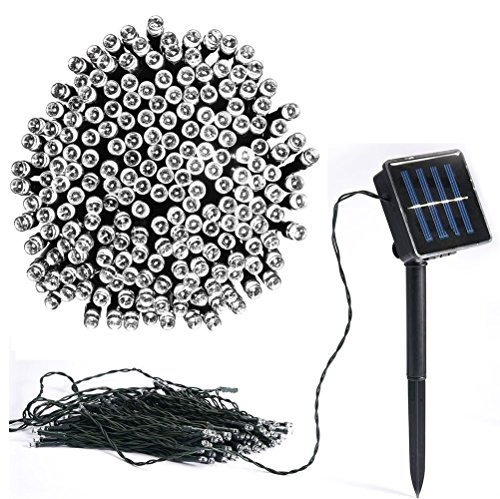 Vlio 8Modes Led Solar Power Fairy String Lights Outdoor Decorative Light 100 LEDs Waterproof IP44 with Light for Garden Home Wedding Party Christmas Halloween (100Leds White)