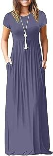 Women Short Sleeve Loose Plain Maxi Dresses Casual Long...