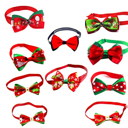 POPETPOP 10pcs Cravatte per Animali di Natale Cane Accessori per Animali Domestici di Natale Collare per Animali Domestici per Cucciolo di Gattino