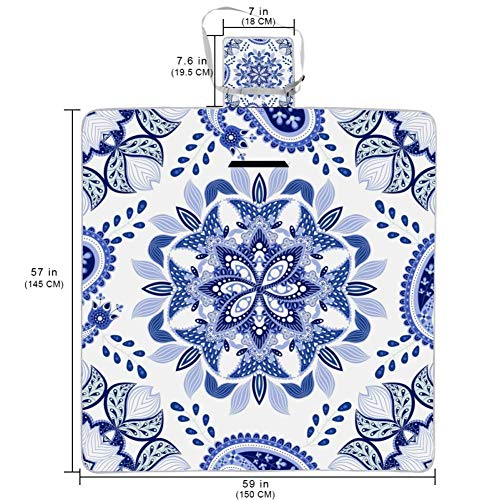 Large Picnic & Outdoor Blanket White Classic Pattern Dual Layers for Outdoor Water-Resistant Handy Mat Tote Great for Camping on The Beach Grass Waterproof Sandproof 57x59 in