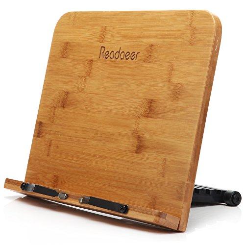 Readaeer Support de lecture portable Support livre de cuisine et bureau en bambou pliable