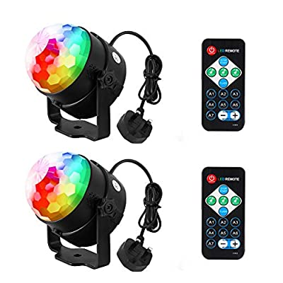 Discolights lunsy discoballlights Stage Light Music Controlled RGB 3W 7 colour Party Light with Remote Control DJ Lights for Festival Bar Club Party Wedding and more