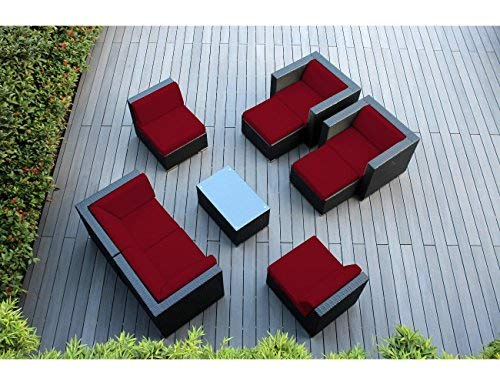 Hot Sale Genuine Ohana Sunbrella Red (5403) Outdoor Patio Sofa Sectional Wicker Furniture 9pc Couch Set with Free Patio Cover (PN0910)