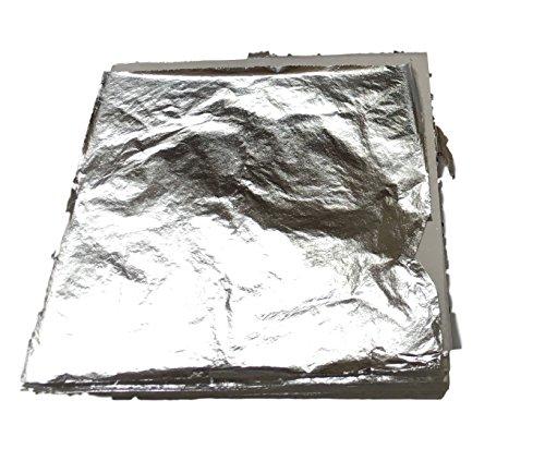 100x o. 200x 14x14cm – BLATTSILBER Blatt-Metall Silber Hochglänzend – zum Versilbern Basteln Verschönern auf Wände, Gegenstände, Möbel usw. – einfach zu verarbeiten BLATTSILBER (100Stück 14x14cm)
