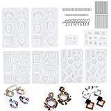 Kit di stampi in fusione di resina per creazione di gioielli in silicone Orecchini in epossidica gioielli Stampi, tra cui ganci per orecchini Anelli di salto Perni per occhi Craft Confezione da 248