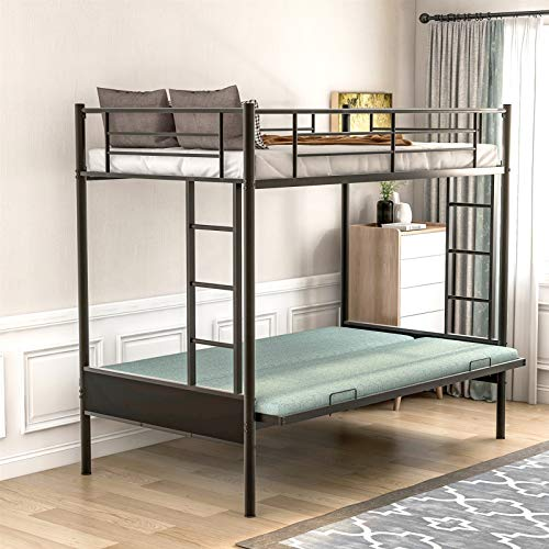 Twin-Over-Futon Metal Bunk Bed, Sturdy Steel Frame Twin Over Full Bunk Beds with Integrated Side Ladder and Full-Length Guardrail,Multi-Function Design,Bottom Bunk Converts Full-Size Bed,U.S. Stocks