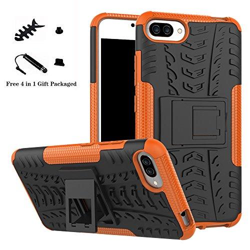 LiuShan Zenfone 4 Max Plus ZC554KL Coque, Shockproof Robuste Impact Armure Hybride Béquille Housse Coque Étui Couverture pour ASUS Zenfone 4 Max Plus ZC554KL (5,5 Pouces) Smartphone,Orange