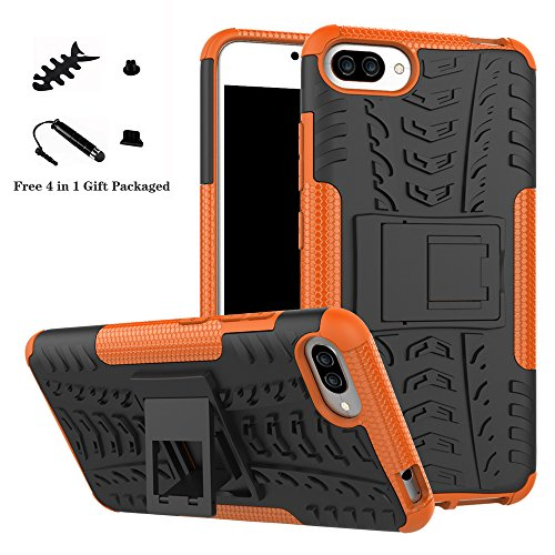 LiuShan ASUS ZC554KL Custodia, Protettiva Shockproof Rigida Dual Layer Resistente agli Urti con cavalletto Caso per ASUS ZenFone 4 Max ZC554KL Smartphone,Arancione