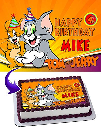 Tom and Jerry Birthday Edible Image Cake Topper