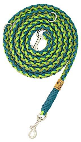 Hundeleine Balu aus Paracord, Führleine, Teal Green + Leaf Green + Moss Green, Handgeflochten, Individuelle Länge, Mehrfach Verstellbar, 1.5 Zentimeter breit