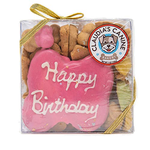 Claudias Canine Bakery, Happy Birthday Gift Assortment Dog Cookies | Pink, Vanilla Flavor, Gourmet Dog Treats| No Preservatives, No Animal by-Products, No Fillers | Made in The USA | Net Wt. 7 oz
