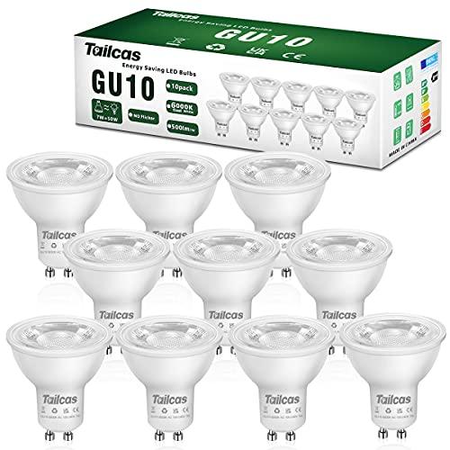 10 x Bombilla LED GU10 7W, Blanco Frío 6000K, Equivalente de Lámpara Halógena de 50W, 500 Lúmenes, AC100-240V, No regulable Sin Parpadeo, Ángulo de haz de 38°