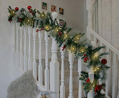 HomeZone 2.7m LED Christmas Decorative Garland Battery Operated Mains Powered Festive Decor Xmas Lighting Realistic Pine Garlands Fireplace Stairway (Snow Dusted (Battery Powered))