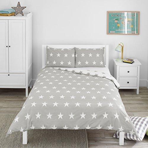 Bloomsbury Mill - Juego de cama para niño - Funda nórdica y funda de almohada 200cm x 200cm - Estampado de estrellas grises y blancas