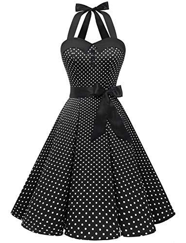 Dressystar, abito vintage a pois, stile rockabilly, anni '50, anni '60, con allacciatura al collo Nero XS