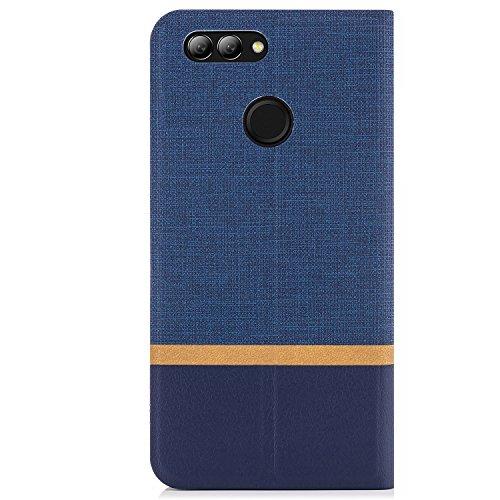 zanasta Tasche kompatibel mit Huawei Nova 2 Plus Hülle Flip Case Schutzhülle Handytasche mit Kartenfach Blau - 5