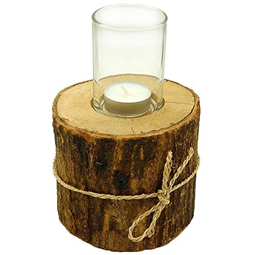 Holz Windlicht Teelichthalter Baumstamm mit Rinde Ø 10-12 cm, Höhe 18 cm Rund Braun Rustikal
