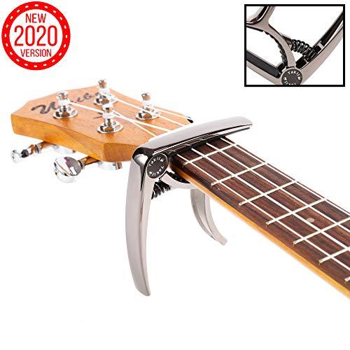 TAKIT Cejilla para Guitarra Acústica y Eléctrica - GARANTÍA DE POR VIDA - Apta para Ukelele, Banjo y Mandolina - Profesional, Alto Rendimiento - Fabricada con Aleación de Zinc - Negro