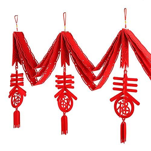 Weikeya Decoración del Festival de Primavera, Tela de Fieltro Hizo 3 Metros año Nuevo Chino para la decoración del Restaurante del hogar