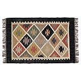 iinfinize Alfombra decorativa Kilim de lana de yute, 2 x 3 pies, alfombra de salón de lana de yute, de yute, reversible, alfombra rústica, alfombra de yute Kilim