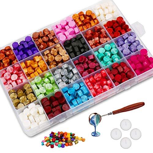Jxunter 600 Perline di Ceralacca Confezionate in Scatola di Plastica, con 4 Candele da Tè e 1 Cucchiaio per Cera per Timbro di Cera (24 Colori)
