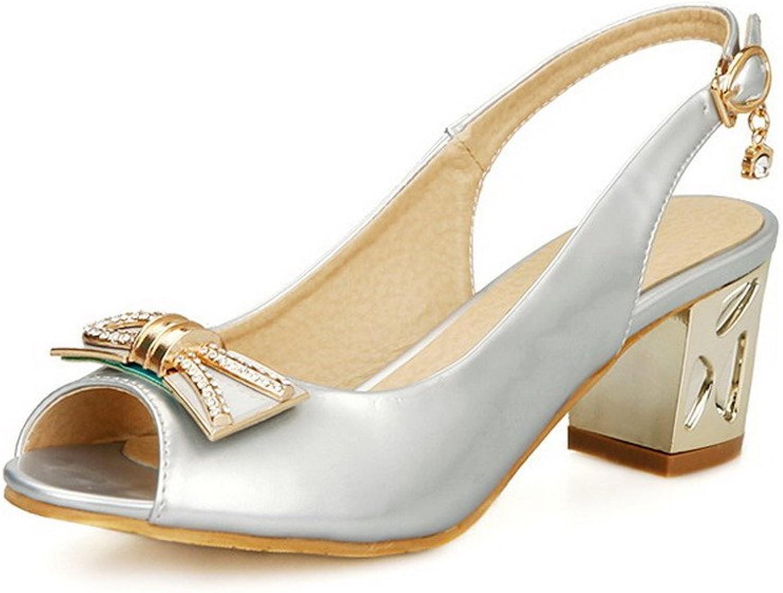 AllhqFashion Women's Peep Toe Buckle PU Solid Kitten-Heels Sandals