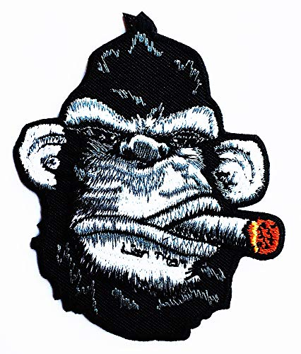 King Kong Smoking Victory Cigar Gorilla Monkey Kids Cartoon Iron on Emoji Embroidered Patch Supplies for Jacket Bags Jeans Backpack Clothes DIY