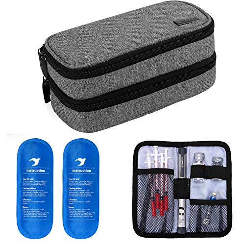 Yarwo Insulin Cooler Travel Case, Double-Layer Diabetic Travel Case with 2 Ice Packs, Diabetic Supplies Organizer for Insulin Pens, Blood Glucose Monitors or Other Diabetes Care Accessories, Gray