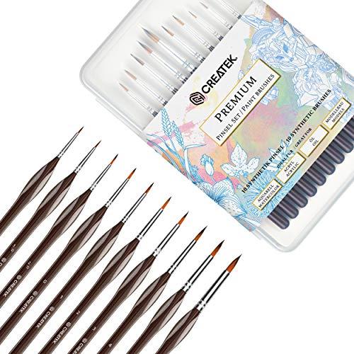 CreaTek© 10 Premium Detail Pinsel | Größe 5/0 bis 8 + praktische Aufbewahrung | Perfekte Ergebnisse für Aquarell, Acryl, Öl, Modellbau, Warhammer 40k, Malen nach Zahlen