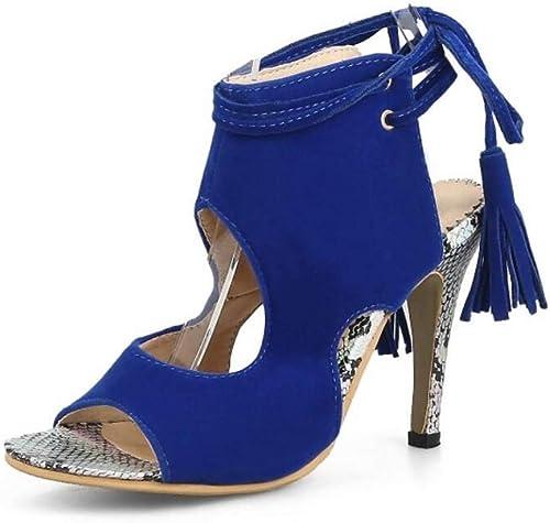 Sandales d'été Femme en Satin à Talon Aiguille Noir Rouge Bleu