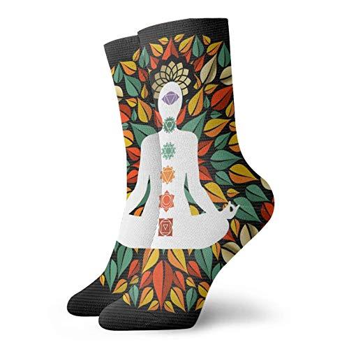 Fodmua Mandala Yoga Lotus Pose Crew - Calcetines deportivos para hombre y mujer