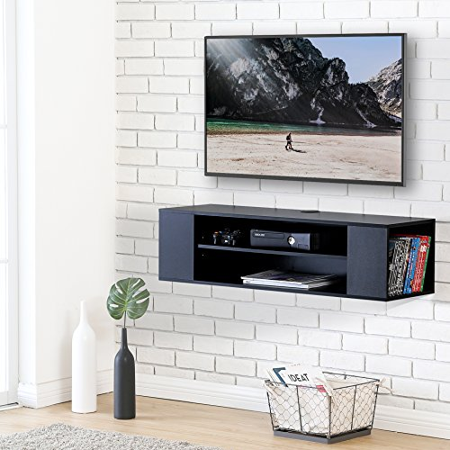 FITUEYES Madera Grano Mesa Flotante para TV Mueble para TV en la Pared Color Negro DS210002WB