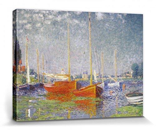 1art1 Claude Monet - Los Barcos Rojos, Argenteuil, 1875 Cuadro, Lienzo Montado sobre Bastidor (40 x 30cm)