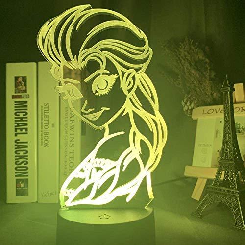 3D nachtlampje Frozen Princess Aisha 3D nachtlampje kind nachtlampje batterij USB-stekker acryl patroon Board_Frozen Princess Aisha 1