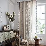 SWECOMZE Juego de cortinas bohemias con borlas, algodón y lino, geométricas, a...
