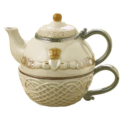 Grasslands Road Celtic 16-Ounce Claddagh Stacking Tea for One Teapot with Teacup, Gift Boxed, Silver