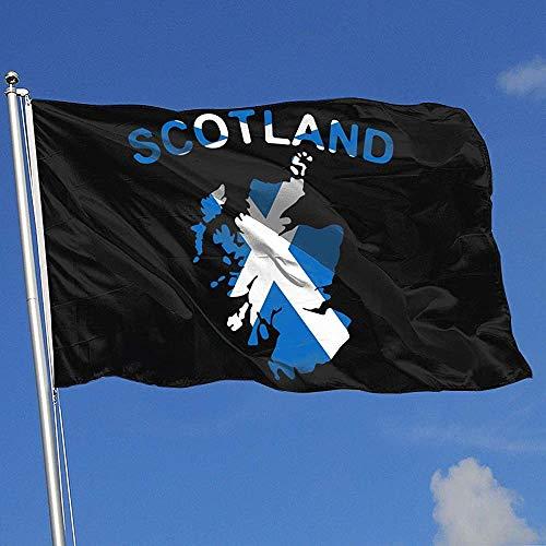 Qinzuisp bloemen vlag Schotland kaart polyester banner met oogjes huis vlag tuinvlag Yard Flag Yard Banner Levendig buiten Hübsch Welkom Kleurrijke 150X90Cm