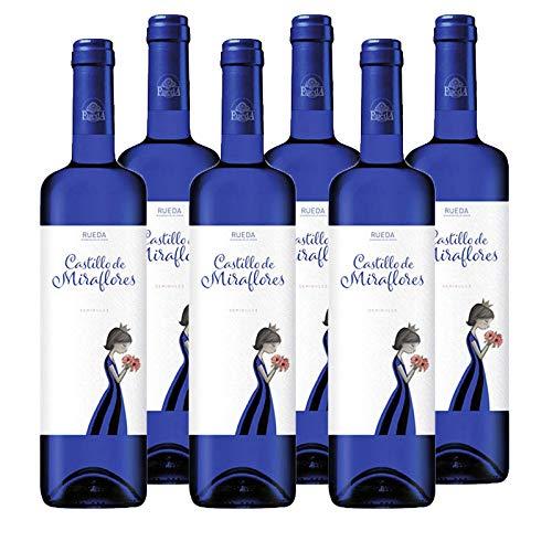 Vino verdejo Castillo de Miraflores de 75 cl - D.O. Rueda - Bodegas Grupo Estevez (Pack de 6 botellas)