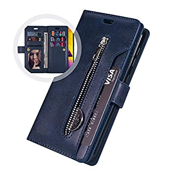 PHEZEN Case for Huawei P30 Lite Wallet Case,Premium PU Leather Magnetic Flip Folio Protective Case Cover Multi-Function 9 Credit Card Holders with Zipper Coins Purse Cover for Huawei P30 Lite,Blue