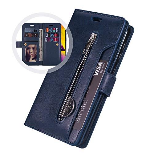 Étui Coque Samsung Galaxy A51,Housse Protection en Cuir Véritable avec[9 fente pour Cartes],JAWSEU Antichoc TPU Etui à Rabat Portefeuille Flip Case[Stand Fonction]Coque pour Galaxy A51(Bleu)