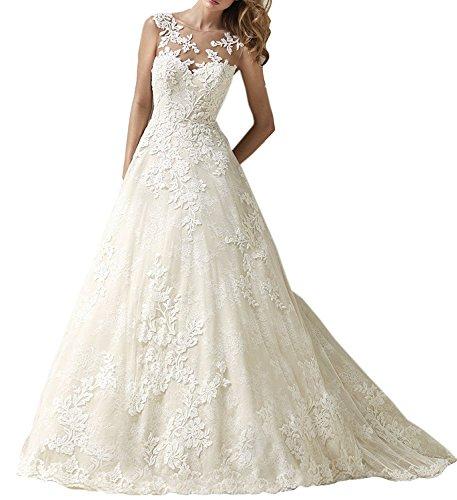 Tianshikeer Brautkleider Spitze A-Linie Lang Hochzeitskleider Vintage Prinzessin