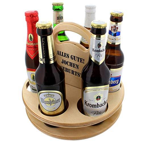 Unbekannt Der Holz-Bier-Träger für Feierfreunde mit Ihrer Personalisierung - Das Geschenk zum Valentinstag für Männer
