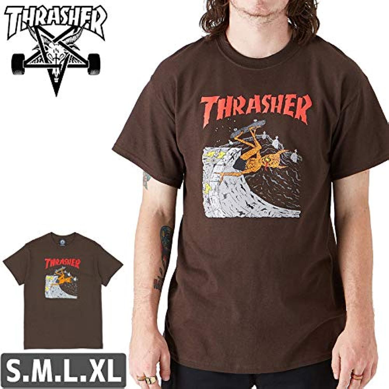 ブラウン/XLサイズ/スラッシャー Tシャツ THRASHER スケボー NECKFACE INVERT T-SHIRTNO104