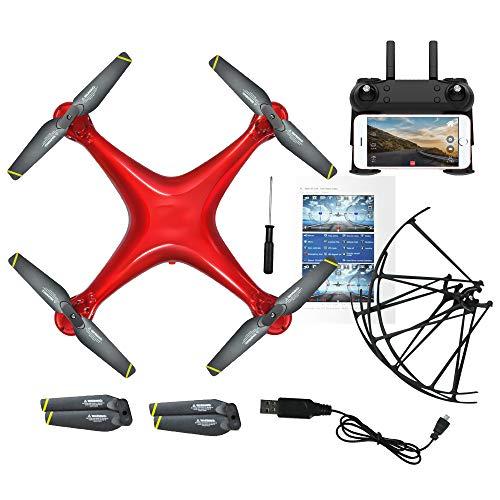 HLKYB Predator Mini Drone, 90 ° Gran Angular 720P HD Mejor Drone para niños y Principiantes Modo sin Cabeza una tecla Off/Landing App Control de Tiempo de Vuelo Largo,Red