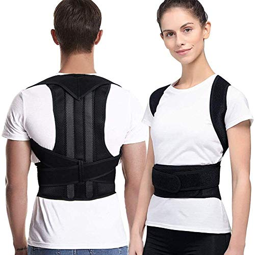 Haltungskorrektor für Männer und Frauen - Verstellbare obere Rückenstütze, Haltungskorrektor-Rückenstütze, Verstellbare Rückenstütze korrigierbar (Farbe: Schwarz)(Size:XX-Lager)