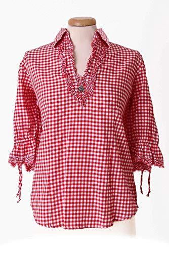 Nübler Trachtenbluse Mariandl Rot-Weiß, Karo-Muster, Figurumspielend, V-Ausschnitt, ¾ Arm, Crushed-Look, Große Größen Rot Gr. 48