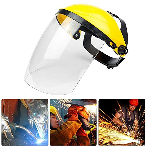 FuTaiKang 1pc Safety Protective Shield Yellow Clear Head-Mounted Face Eye Shield Screen Grinding