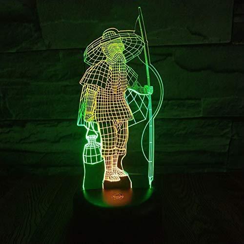 Lámpara de ilusión de luz nocturna 3D Fisherman, lámpara de mesilla de noche de 7 colores Regalos de Navidad y cumpleaños para niños Luz de noche LED con control remoto